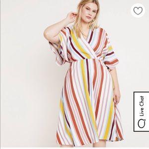 Eloqqui Striped flowy midi length dress w/ pockets